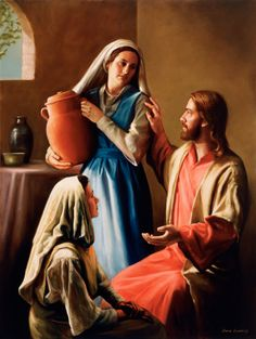Mary sitting at the feet of Jeus